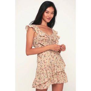 J.O.A. Besk Beige Floral Print Ruffled Mini Dress